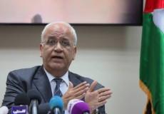 عريقات أية خطة تتضمن عناصر إنهاء القضية الفلسطينية مرفوضة