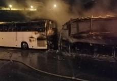 بيت لحم حرق حافلتين دون معرفة الأسباب